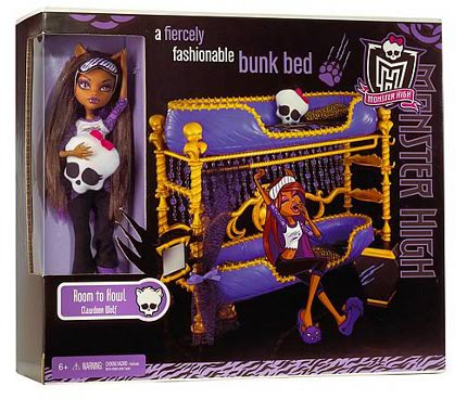 Monster high dead tired clawdeen wolf doll bunk bed set ebay - Clawdeen wolf pyjama party ...
