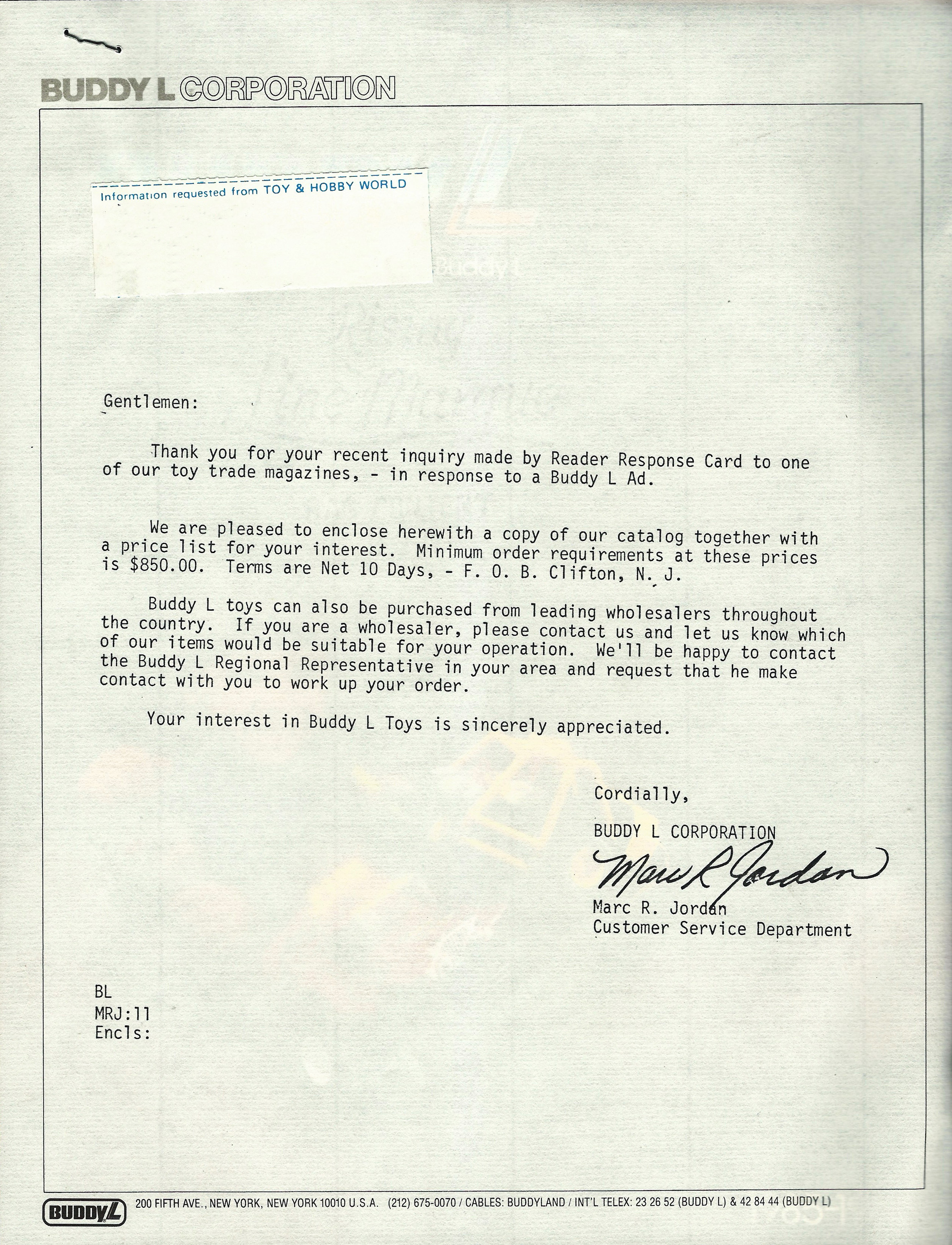 Buddy L Letter To Potential Customers