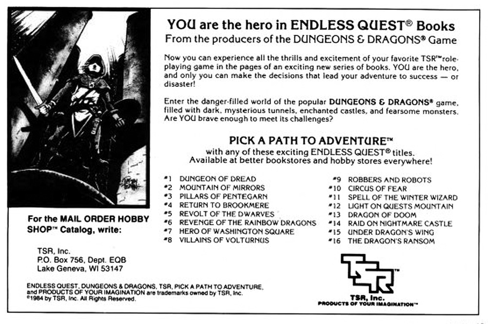Endless Quest Ad from 1984