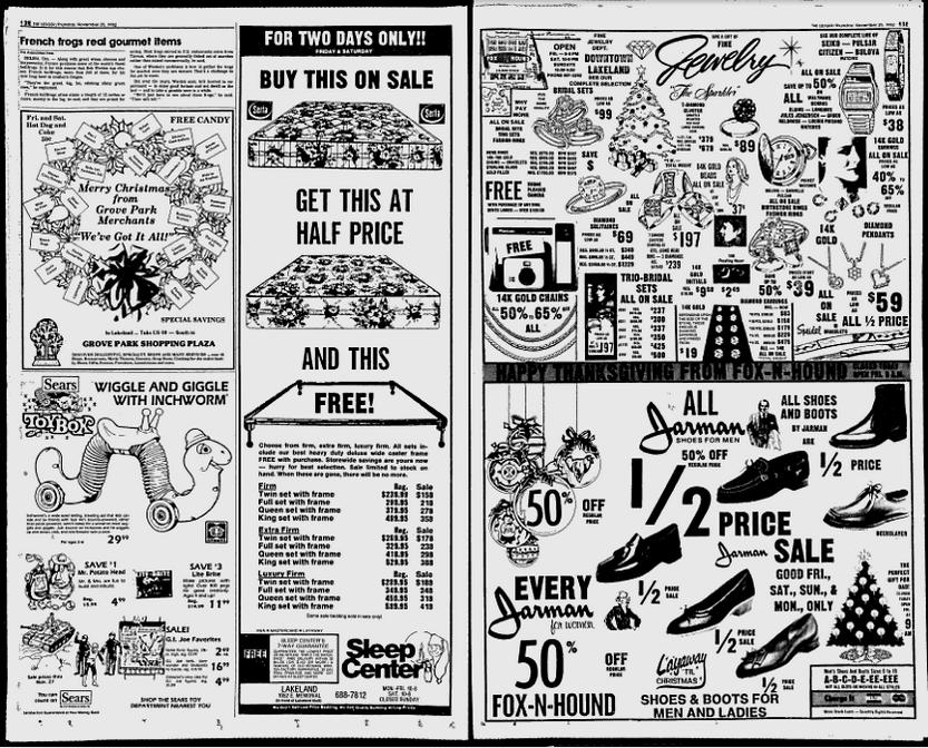 1982 Sears Newspaper Advertisement Featuring G I  Joe Action Figures