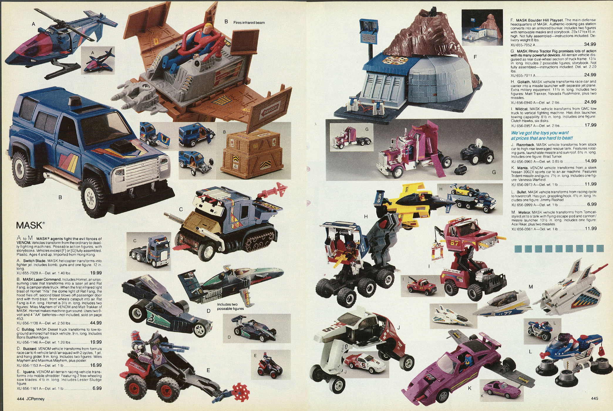 Kenner's M A S K  in the 1987 JC Penny Christmas Catalog