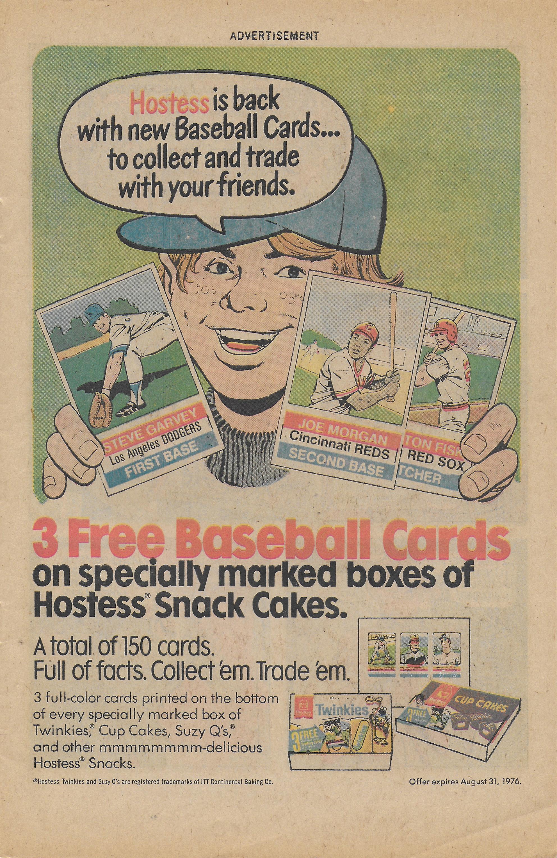 Three Free Baseball Cards From Hostess In 1976