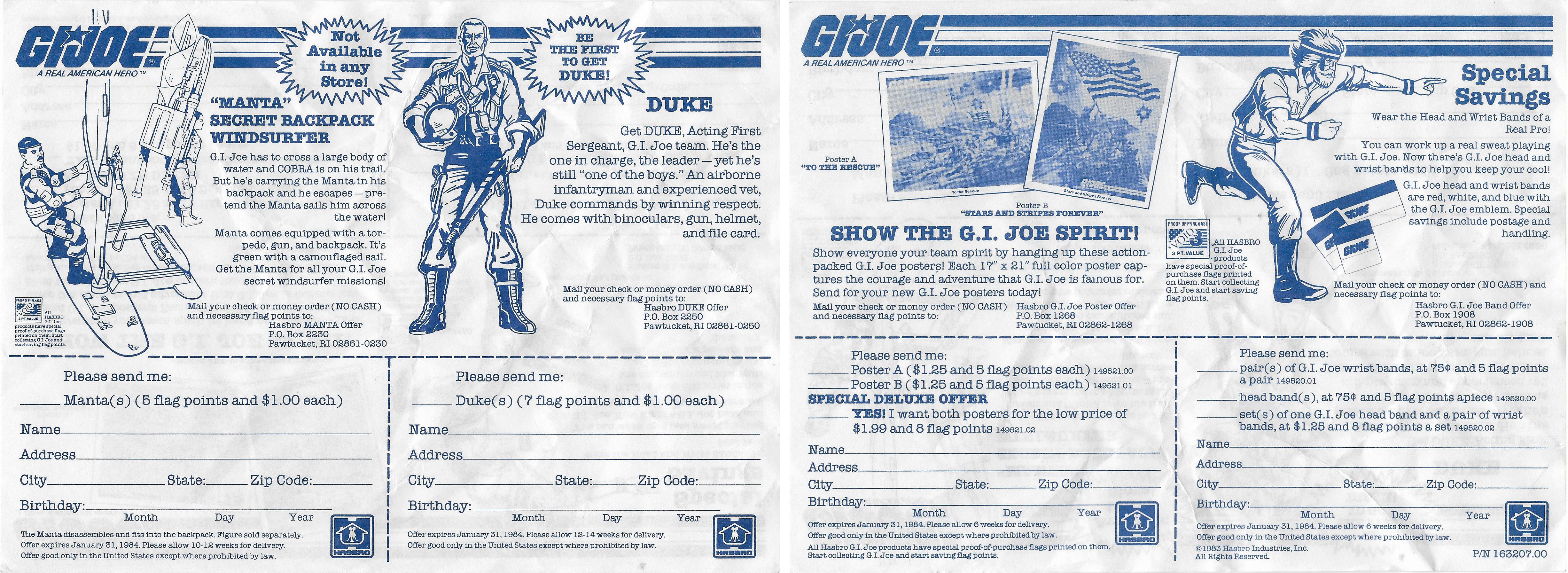 G I  Joe Manta Offer from 1983
