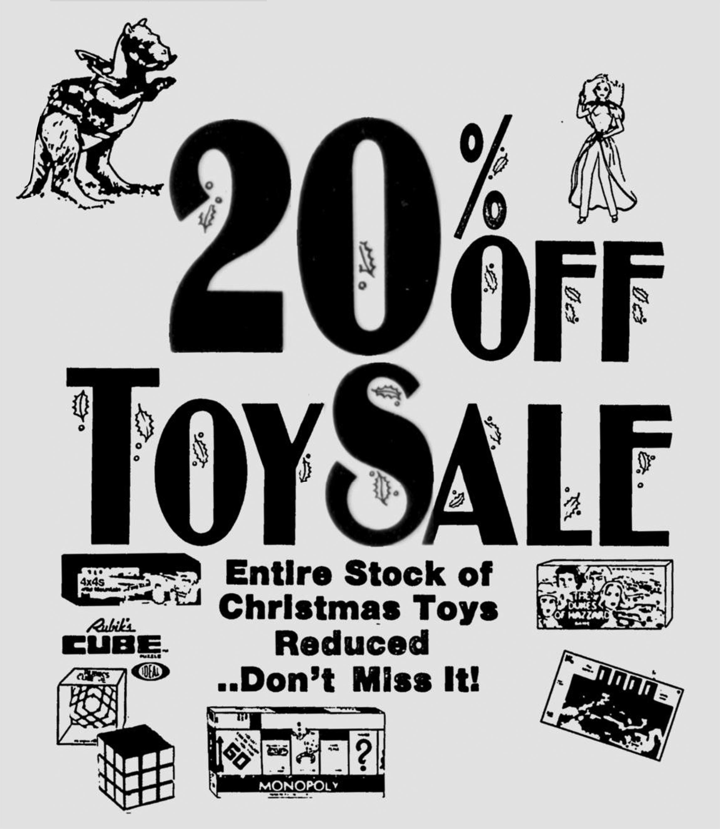 """1981 """"20% Off Toy Sale"""" at Kroger"""