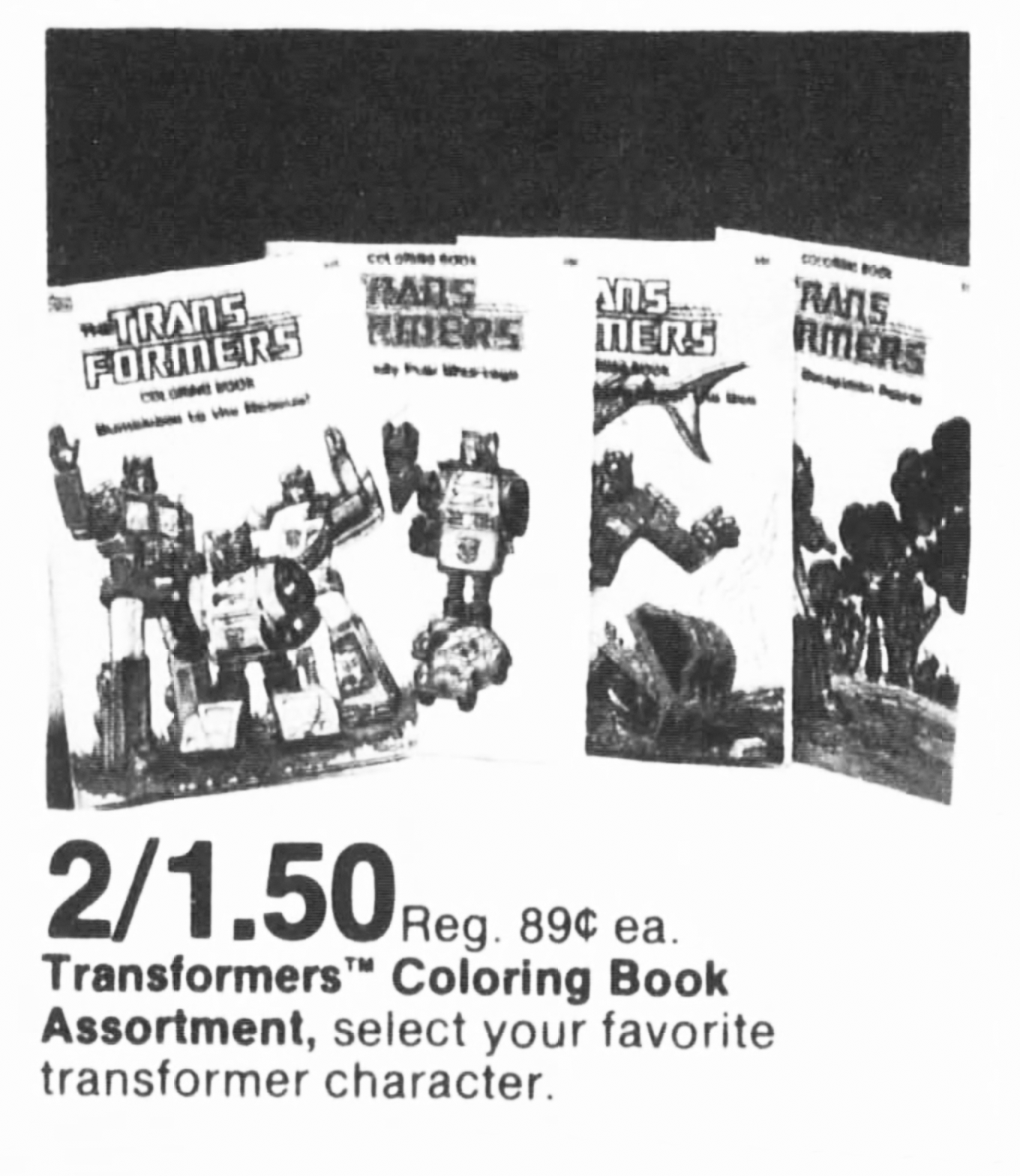 Transformers Coloring Books on Sale in 1985
