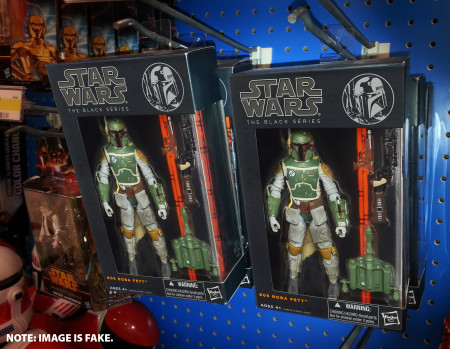 Pegs overloaded with Star Wars Black Boba Fett action figures! If this were a real pic it would be a miracle.