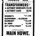 Autobot Minicars and Cars on Sale in 1984